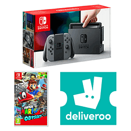 Nintendo Switch Grey with Super Mario Odyssey + £5 Deliveroo Credit