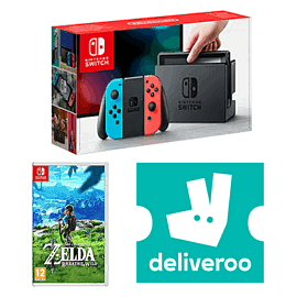 Nintendo Switch Neon with The Legend of Zelda - Breath of the Wild + £5 Deliveroo Credit