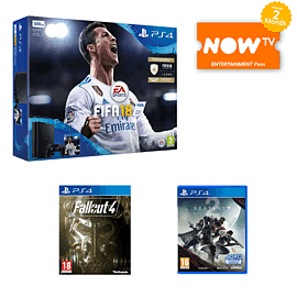 PS4 500GB FIFA 18 Bundle with Fallout 4 + Destiny 2 and Now TV 2 Month Entertainment Pass