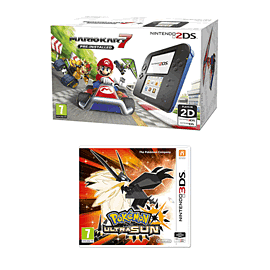Nintendo 2DS Mario Kart Fixed Pack with Pokemon Ultra Sun for 2DS/3DS