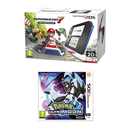 Nintendo 2DS Mario Kart Fixed Pack with Pokemon Ultra Moon for 2DS/3DS