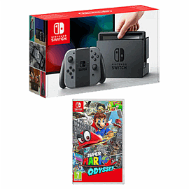 Nintendo Switch Grey with Super Mario Odyssey