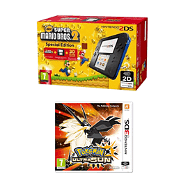 Nintendo 2DS Black and Blue Super Mario Bros 2 Pack with Pokemon Ultra Sun for 2DS/3DS