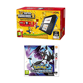 Nintendo 2DS Black and Blue Super Mario Bros 2 Pack with Pokemon Ultra Moon for 2DS/3DS