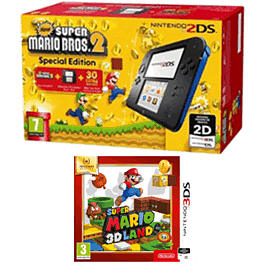 Nintendo 2DS Black and Blue + Super Mario Bros 2 + Selects Super Mario 3D Land for 2DS/3DS