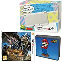 New Nintendo 3DS (White) with Monster Hunter 4 Ultimate and Super Mario Folio Kit