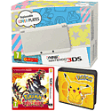 New Nintendo 3DS (White) with Pokemon Omega Ruby and Pikachu Folio Kit