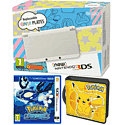 New Nintendo 3DS (White) with Pokemon Alpha Sapphire and Pikachu Folio Kit