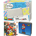 New Nintendo 3DS (White) with Super Smash Bros and Super Mario Folio Kit