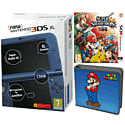 New Nintendo 3DS XL (Metallic Blue) with Super Smash Bros and Super Mario Folio Kit