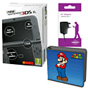 New Nintendo 3DS XL (Black) With Charger & Mario Accessory Kit