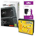 New Nintendo 3DS XL (Black) With Charger & Pikachu Accessory Kit