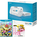 White Wii U Basic with Mario Party 10 and Classic Collection Peach amiibo