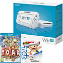 White Wii U Basic with Captain Toad: Treasure Tracker and Classic Collection Toad amiibo