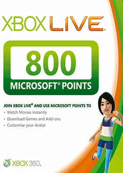 Xbox Live 800 Points Card