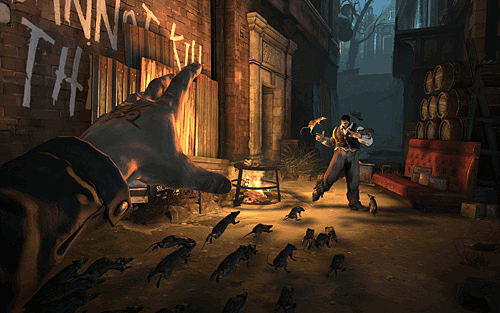 Steampunk stealth first-person action in Dishonored on Xbox 360, Ps3 and PC at GAME