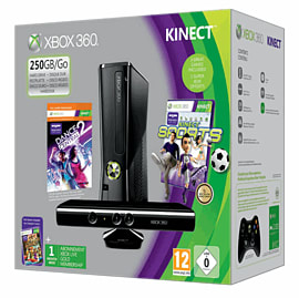 Xbox 360 250GB with Kinect, Kinect Sports and Dance Central 2Xbox 360