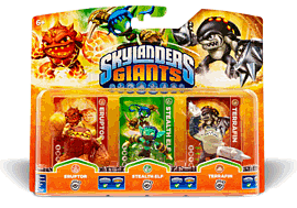 Skylanders Giants Character Triple Pack - Eruptor, Stealth Elf, TerrafinToys and Gadgets