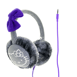 Hello Kitty Cosy Kitty Kintted Ear Muff Headphones - Grey screen shot 1