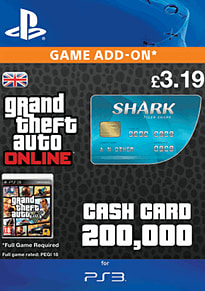 GTA Online Tiger Shark Cash Card - $200,000 (PS3) for PS3