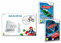 White Nintendo Wii Console with Mario Kart and Wheel and Disney Pixar Planes and Disney Pixar Cars 2 Wii