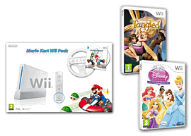 White Nintendo Wii Console with Mario Kart and Wheel and Disney Princess Fairytale Adventure and Disney's Tangled Wii
