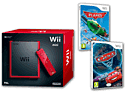 Red Nintendo Wii Mini Console Disney Pixar Planes and Disney Pixar Cars 2 Wii