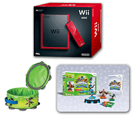 Red Nintendo Wii Mini Console and Skylanders SWAP Force Starter Pack and SWAP Force Element Storage Case Wii