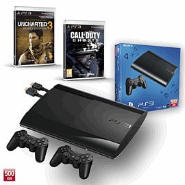 PS3 500GB with Uncharted 3 GOTY, Official Sony Dualshock Controller and Call of Duty: Ghosts PlayStation-3