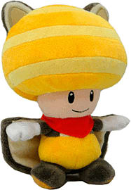 Super Mario Bros Flying Squirrel Toad Plush - YellowToys and Gadgets