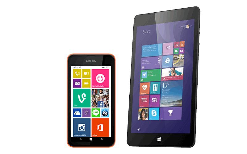 microsoft phone png. microsoft linx 8 inch tablet \u0026 nokia lumia 530 phone (orange) pack png