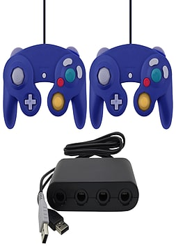 ZedLabz Gamecube controllers & USB GameCube adapter value bundle for Wii U- Purple Wii U