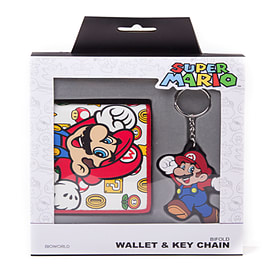 Super Mario Giftset Mario Bifold Wallet & Rubber Key RingClothing and Merchandise