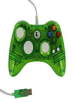 Zedlabz compatible 1.8M wired LED colour glow USB controller for Microsoft Xbox 360 - Green XBOX360