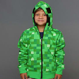 Minecraft Creeper Premium Zip-up Youth Hoodie: Size LargeClothing and Merchandise