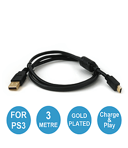 ZedLabz pro gold plated 3M extra long USB charging charger play cable lead for Sony PS3 Controller. PS3