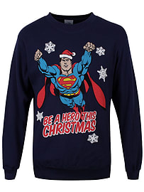 DC Comics Superman Christmas Hero Navy Crewneck Sweatshirt: Extra Large (Mens 42- 44)Clothing and Merchandise