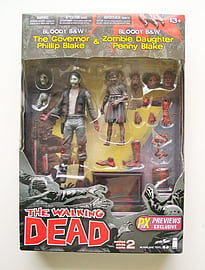 THE WALKING DEAD COMIC SERIES 2 BLACK & WHITE BLOODY GOVERNOR & PENNY EXCLUSIVE ACTION FIGURE 2 PACKFigurines