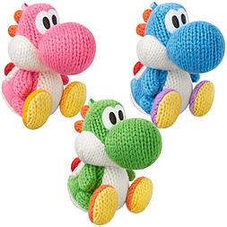 Yarn Yoshi amiibo Triple Pack – Green, Pink and Light Blue – Yoshi's Woolly World CollectionAmiibo