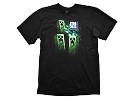 MINECRAFT MERCHANDISE Youth Three Creeper Moon Small T-Shirt Black (GE1156S)Clothing and Merchandise