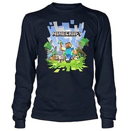 Official Minecraft Adventure Boys Long Sleeve Tee T shirts Top (Medium, Navy)Clothing and Merchandise