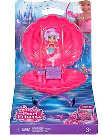 Barbie in The Magic Pearlandquot; Pink Shell Mermaid Purple HairFigurines