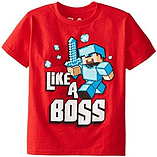 Boys Minecraft T-shirt | Mine Craft Tshirt | Official | LIKE A BOSS | Youth | 9-10 | RED screen shot 1