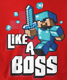 Boys Minecraft T-shirt | Mine Craft Tshirt | Official | LIKE A BOSS | Youth | 14-15 | REDClothing and Merchandise