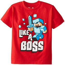 Boys Minecraft T-shirt | Mine Craft Tshirt | Official | LIKE A BOSS | Youth | 12-13 | REDClothing and Merchandise