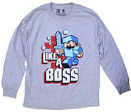 Boys Minecraft T-shirt | Mine Craft Tshirt | Official | LIKE A BOSS | Youth | 7-8 | GREY | L/SLEEVE screen shot 1