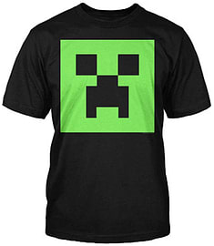 Boys Minecraft T-shirt |Official | CREEPER FACE GLOW IN DARK | Youth 9-10 | BLACKClothing and Merchandise