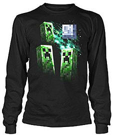 Boys Minecraft T-shirt | Official | THREE CREEPER MOON | Youth | 10-12 | BLACK | LONG SLEEVEDClothing and Merchandise