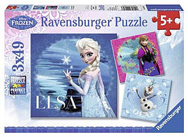 Disney Frozen 3x49pcPuzzles and Board Games