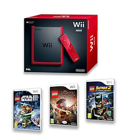 WII Mini Red Console with Lego Star Wars 3, Lego Pirates of the Caribbean and Lego Batman 2 Wii